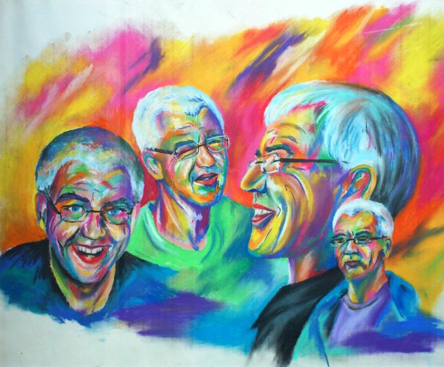 kleurrijke lachende Berten, pastelkrijt op papier