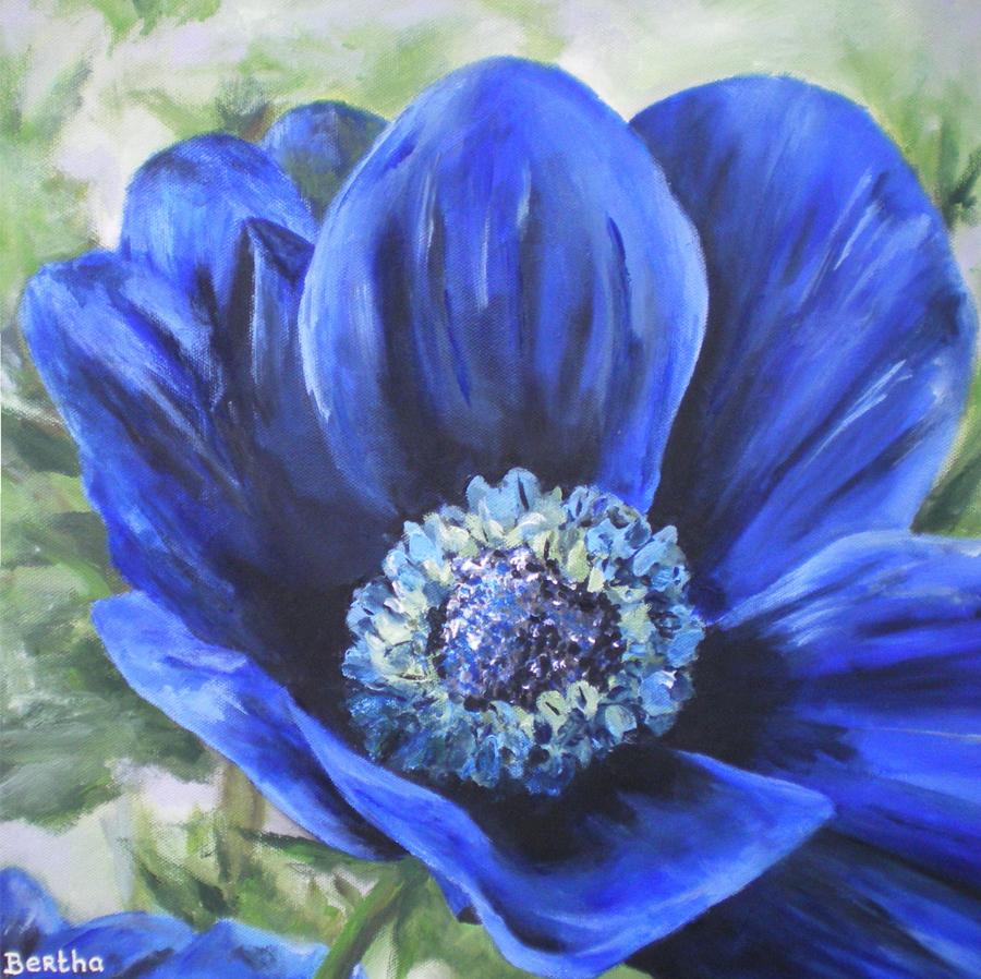 blauwe anemoon, acryl op doek