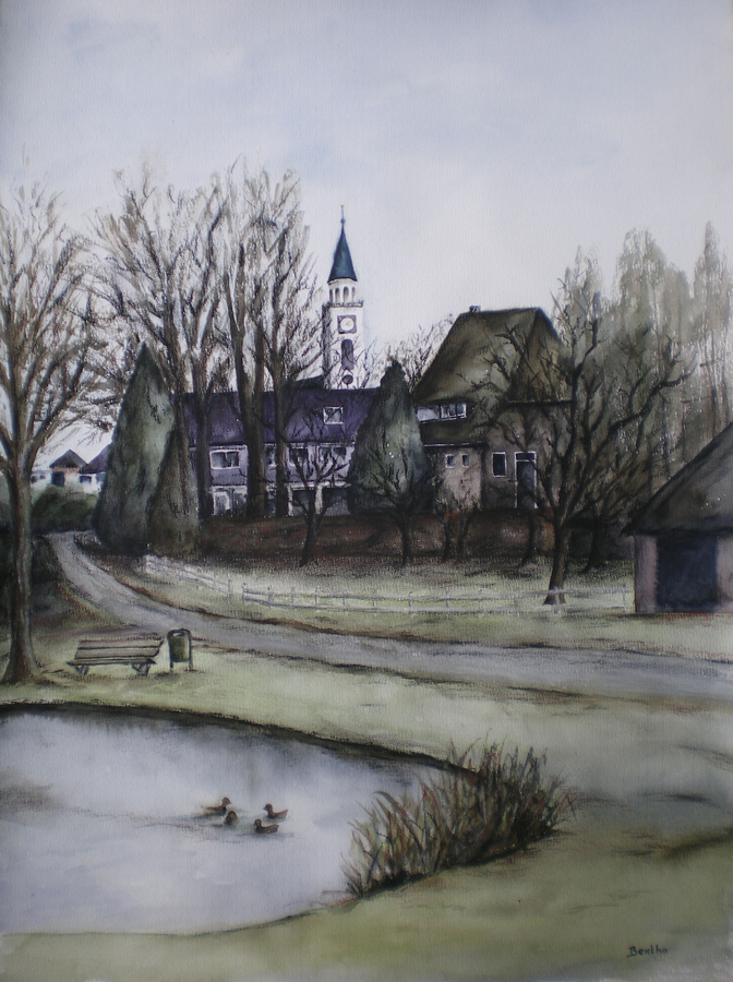 eendenkuil Odoorn, aquarel op papier