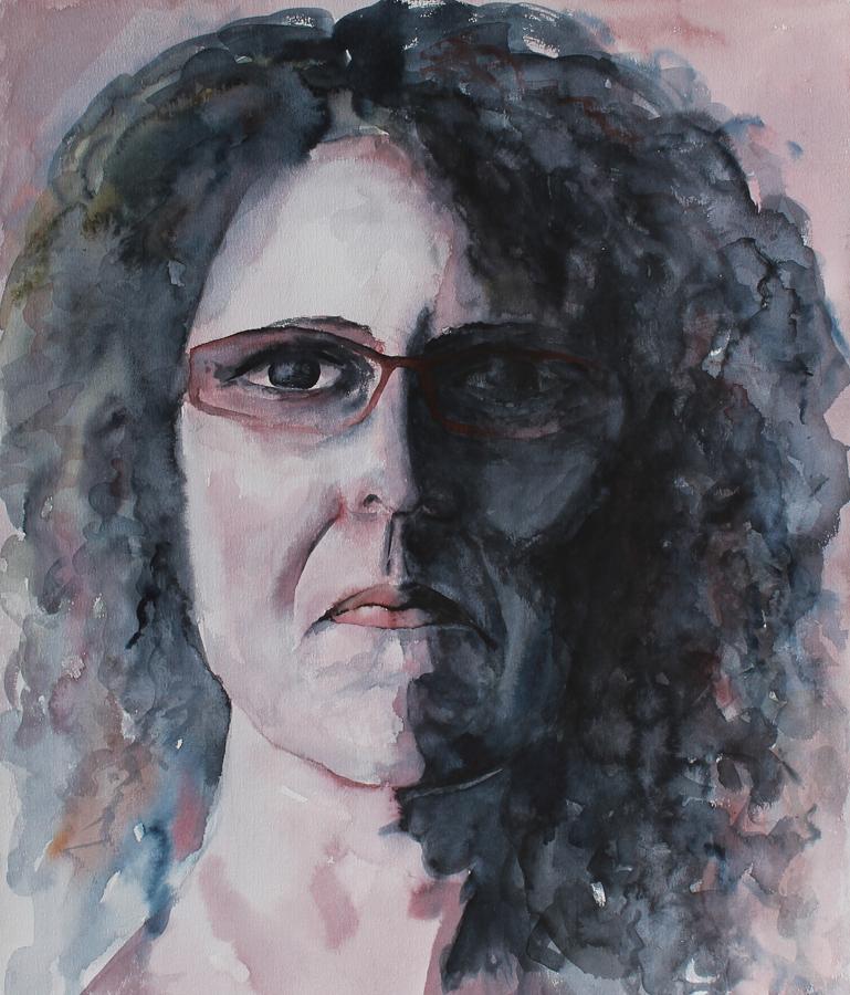 koel ernstig zelfportret, aquarel op papier