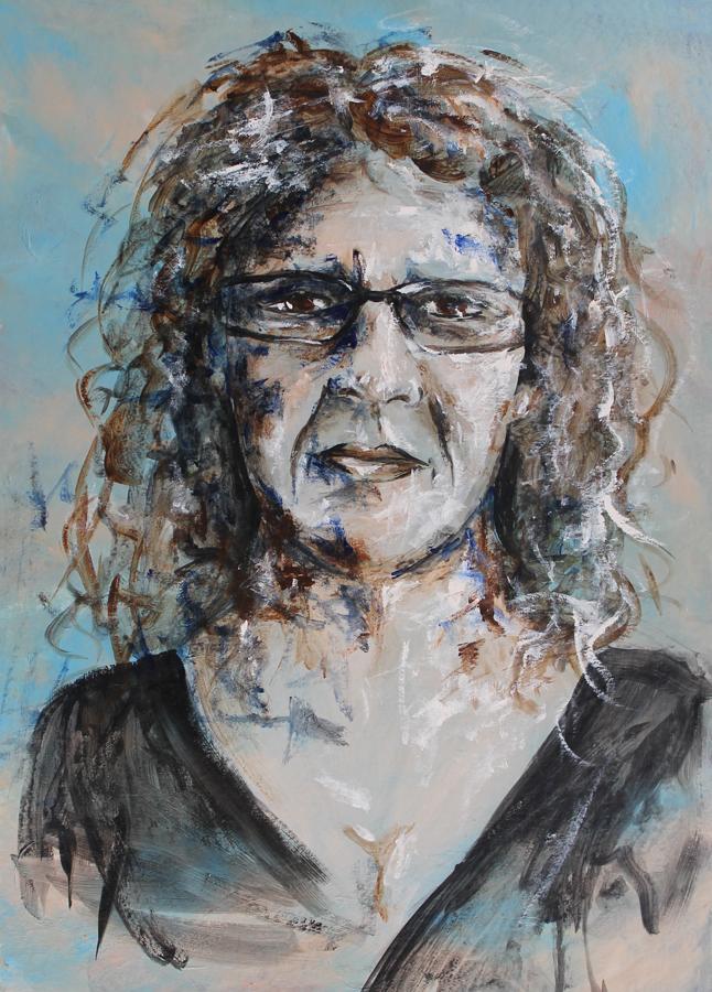 warrig en wazig zelfportret, acryl op papier
