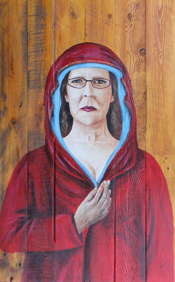 vroom zelfportret icoon acryl op hout