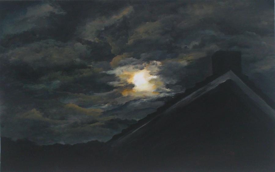 wolken in de nacht aan de Goorns, acryl op papier