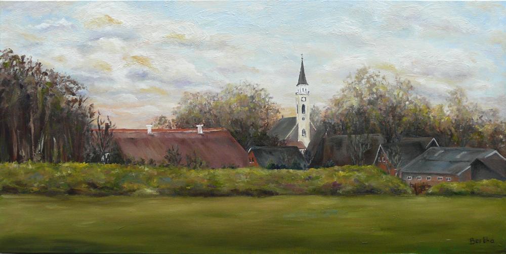 dorpsgezicht Odoorn Drenthe, olieverf op doek