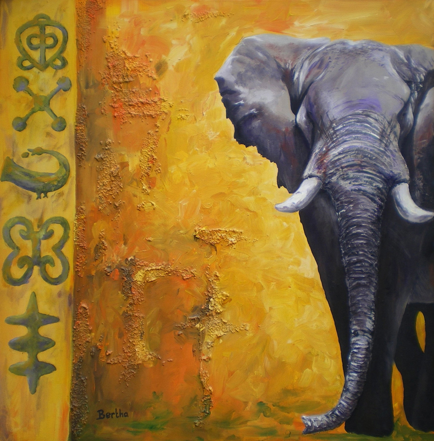 olifant in geel met kracht tekens, acryl op doek