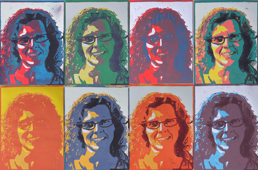 lino snijden zelfportret pop art