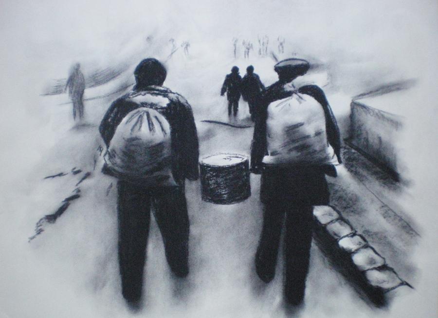 zwoegende arme arbeiders, conté op papier