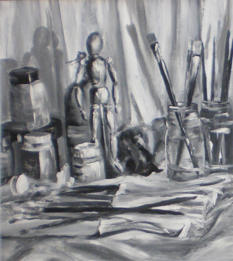 stilleven atelier, acryl op papier
