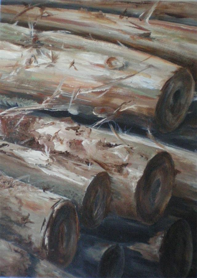 boomstammen, acryl op paneel