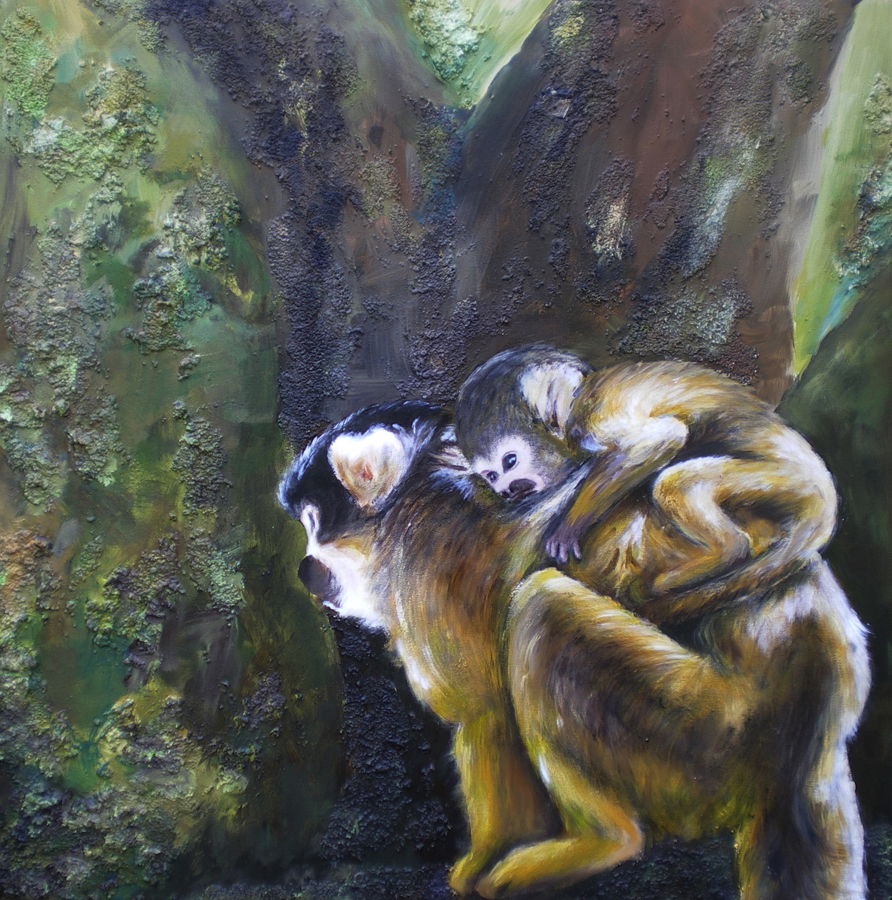 doodskop aapjes moeder en kind, acryl op doek