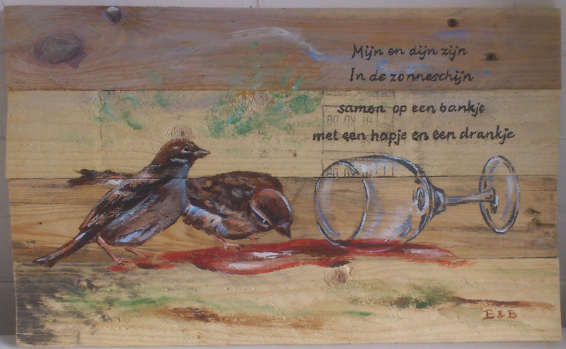 liefde en poëzie2, acryl op hout