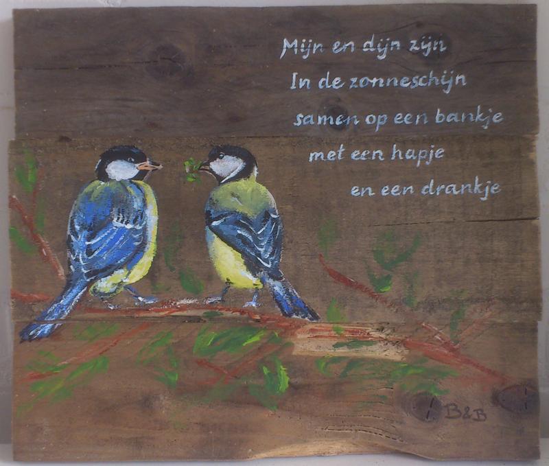 liefde en poëzie1, acryl op hout