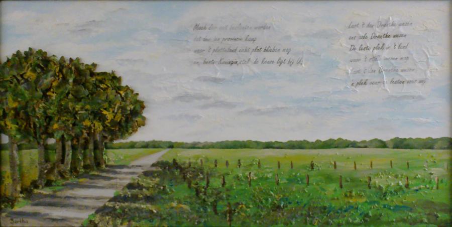 ode aan het platte land met tekst van Daniel Lohues Beste Koningin, mixed media op paneel