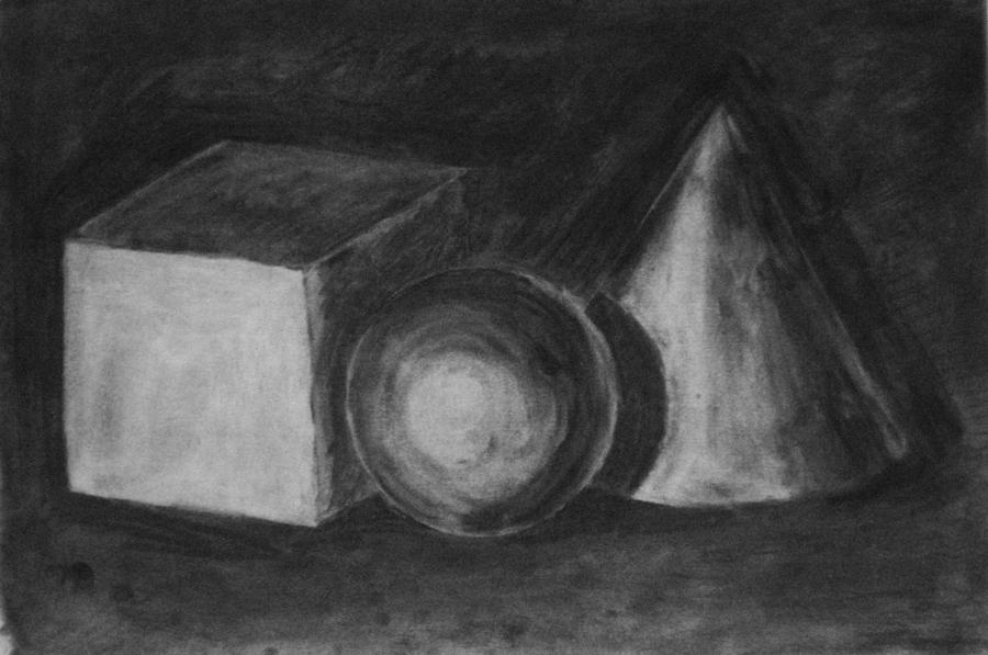 studie geometrische vormen kubus bol en kegel, houtskool op papier