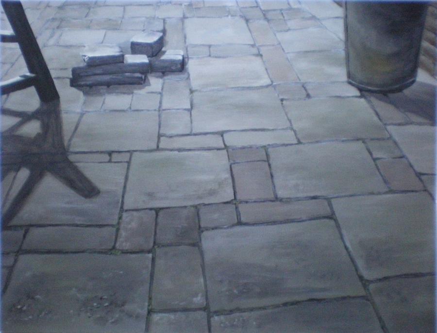 terras stenen in zonlicht, acryl op papier