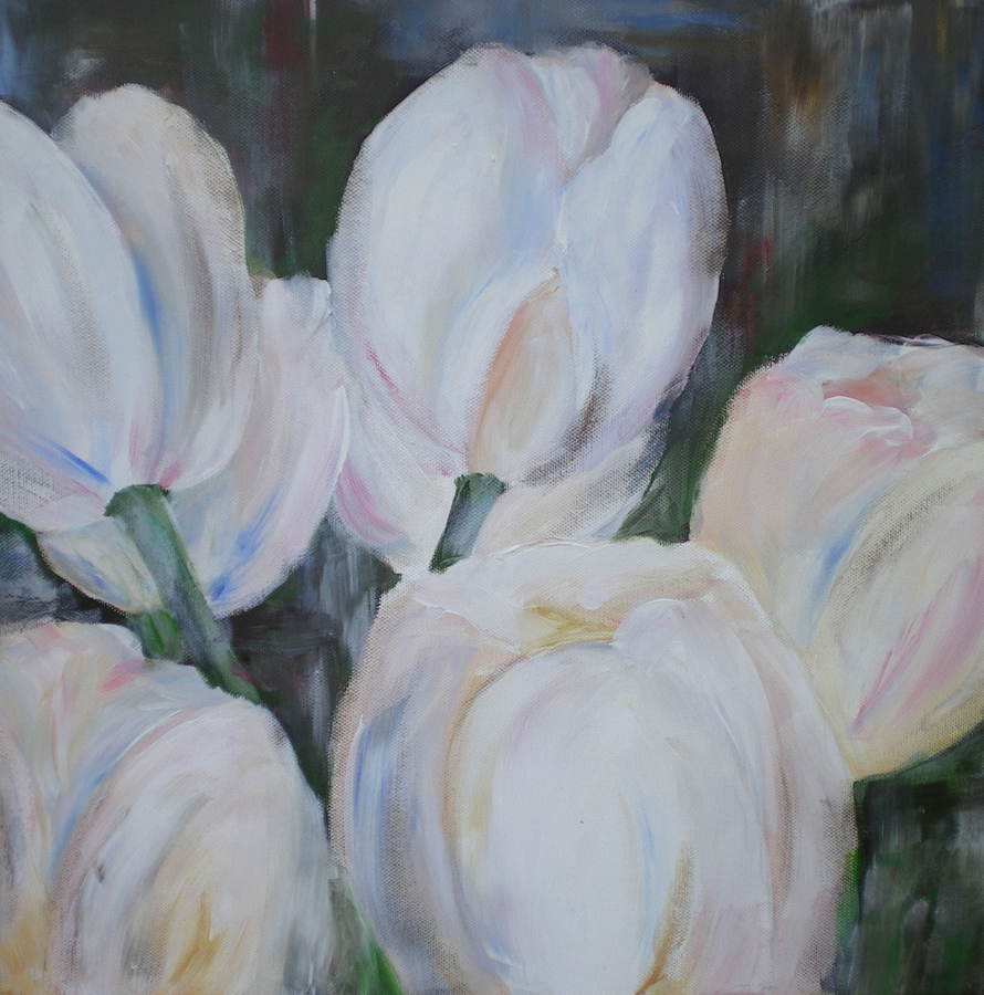 witte tulpen, acryl op doek