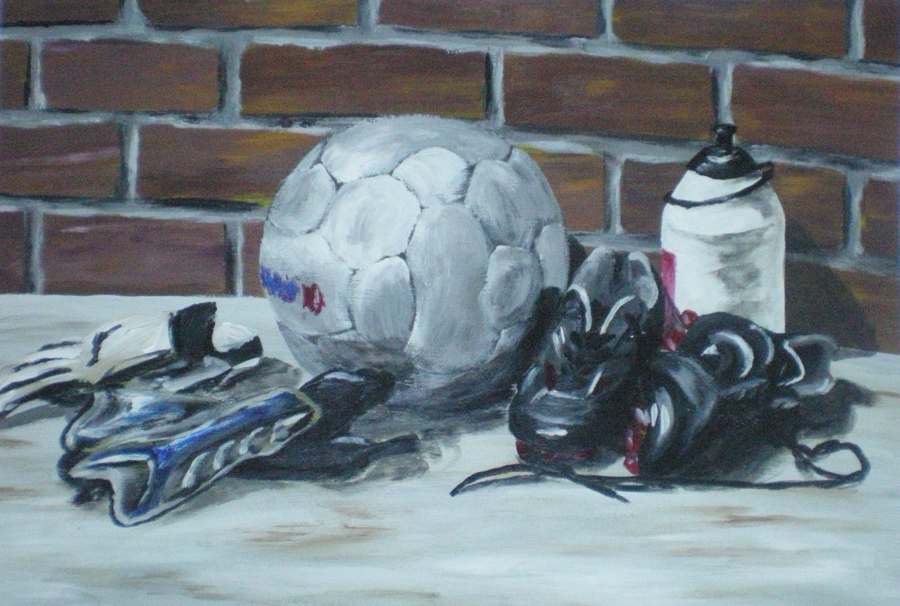 voetbal en attributen, acryl op papier