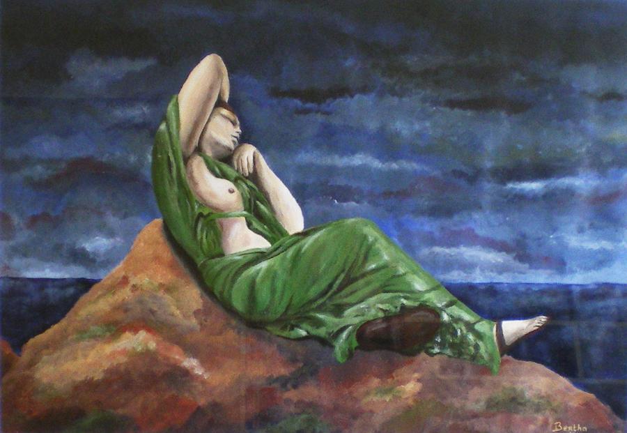 vrouw op rotsen, acryl op papier