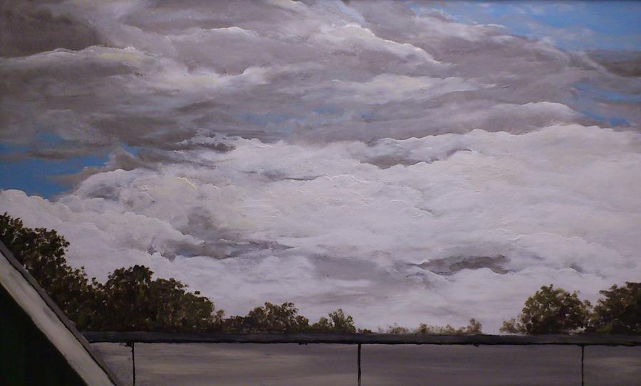 wolken aan de Goorns, acryl op papier