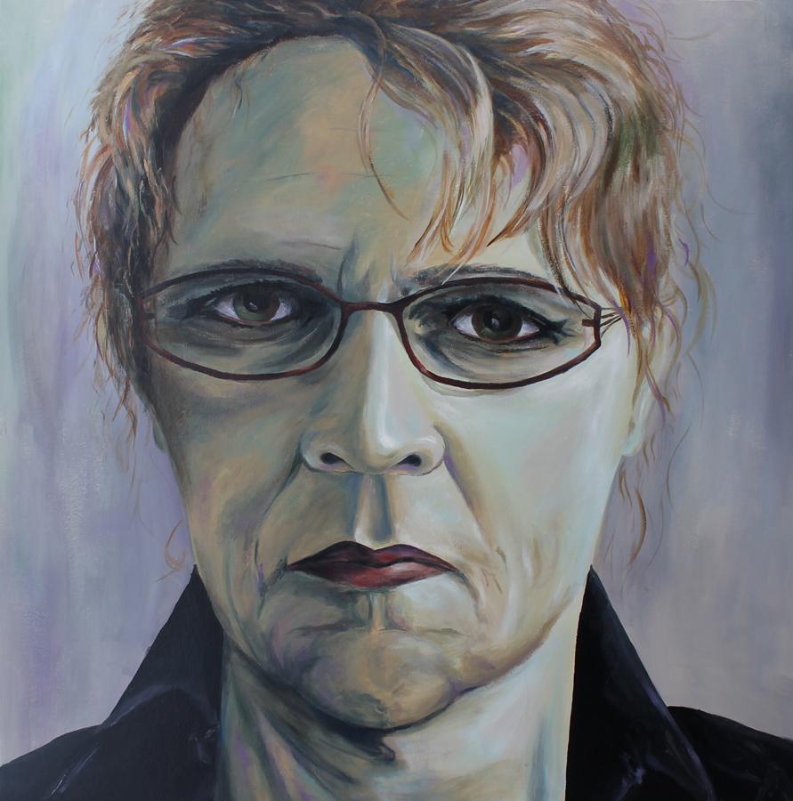 ernstig streng koud zelfportret, acryl op doek