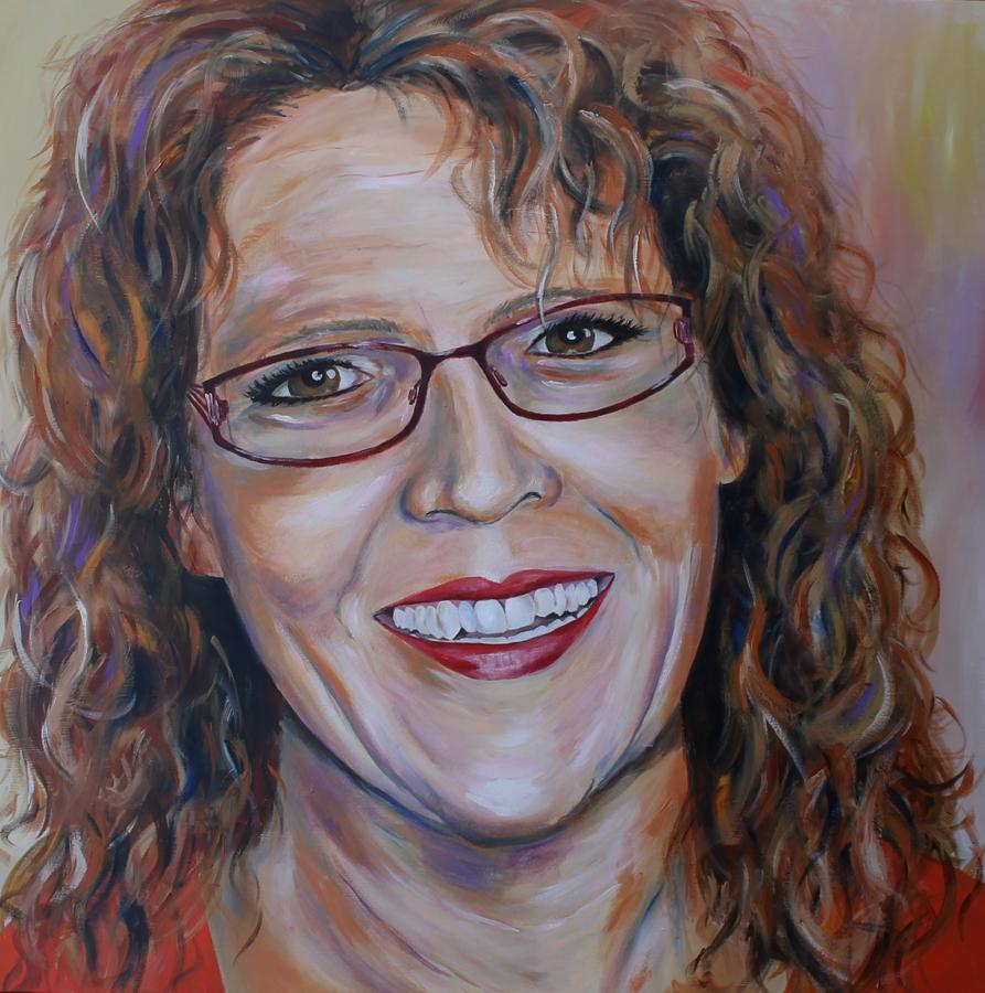 vrolijk zelfportret veel kleur, acryl op doek