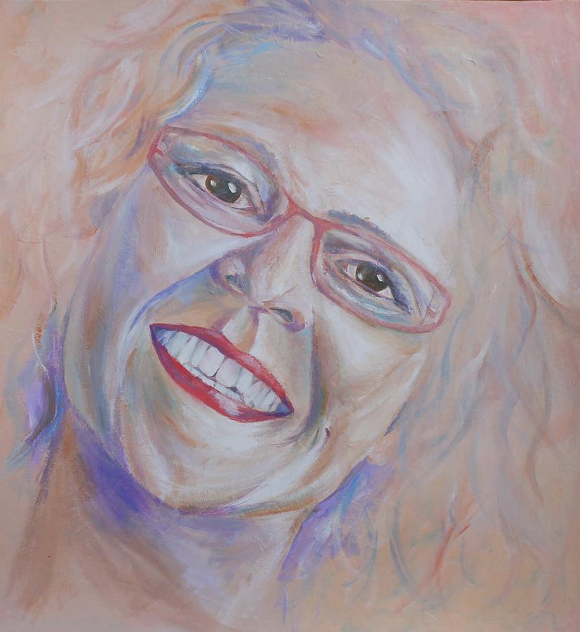 lief en vrolijk zelfportret, acryl op doek