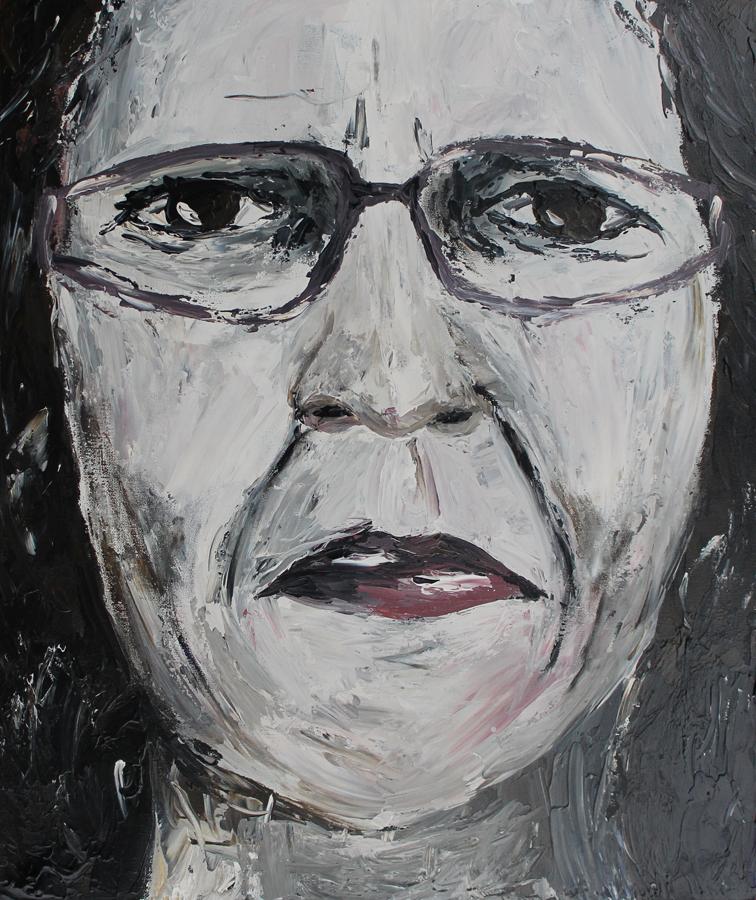 koel zelfportret kleurloos, acryl op papier