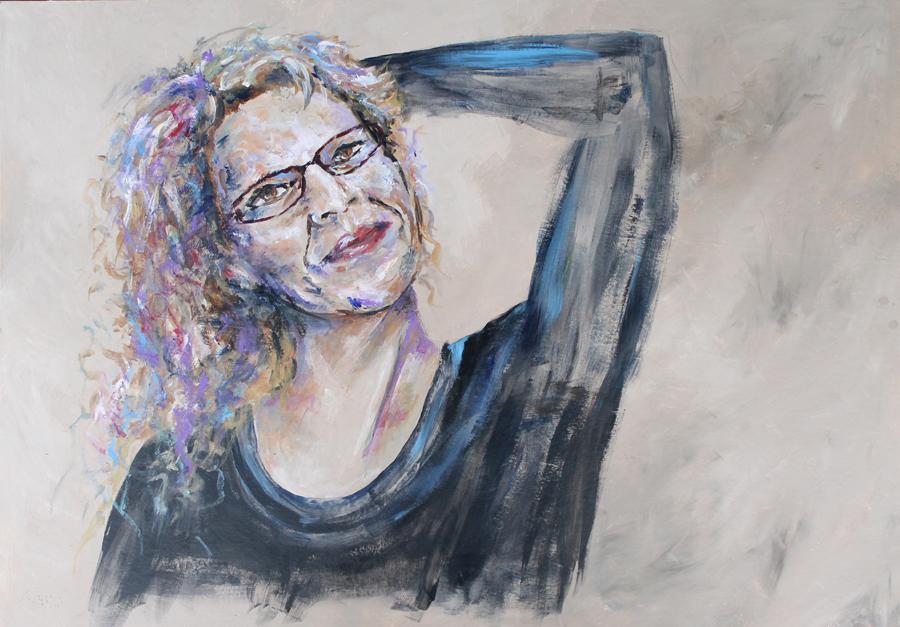 gezellig zelfportret verleidelijk, acryl op papier