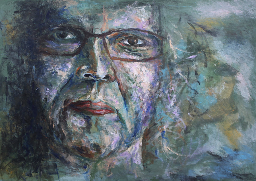 impressionistisch zelfportret, acryl op papier